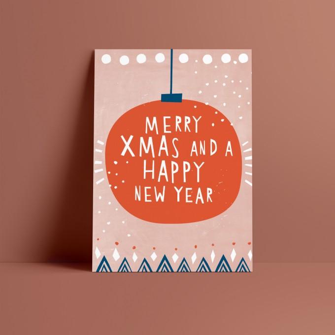Designfräulein // Weihnachtskarte // Merry Xmas and a happy New Year rosa