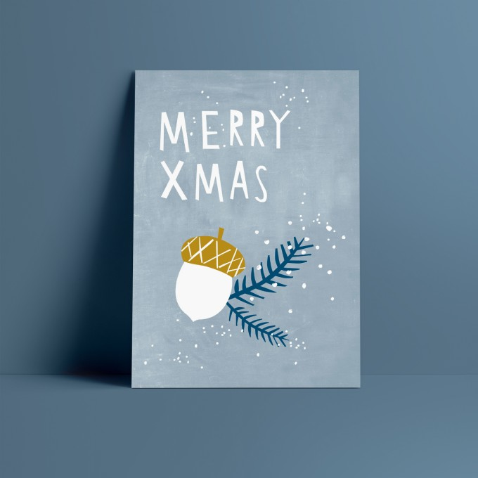 Designfräulein // Weihnachtskarte // Merry Xmas blau