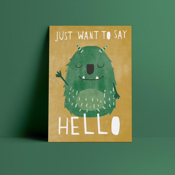 Designfräulein // Postkarte // Hello Monster