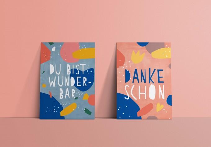 Designfräulein // Postkartenset  // Du bist wunderbar & Dankeschön