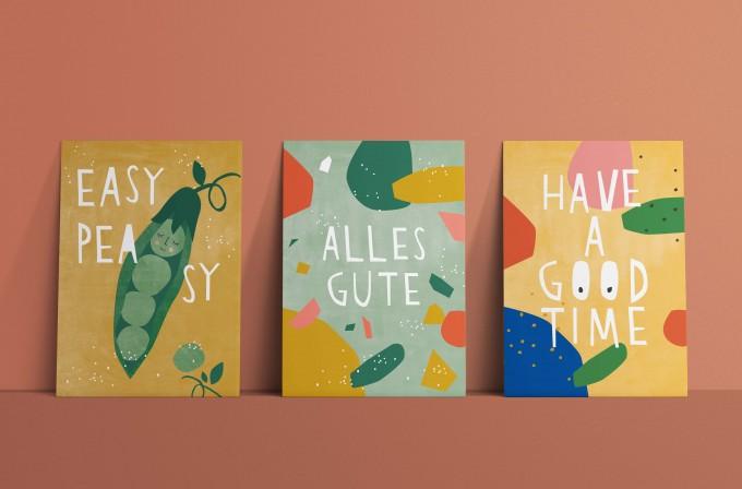 Designfräulein // Postkartenset // Easy Peasy, Alles Gute & Have a good Time