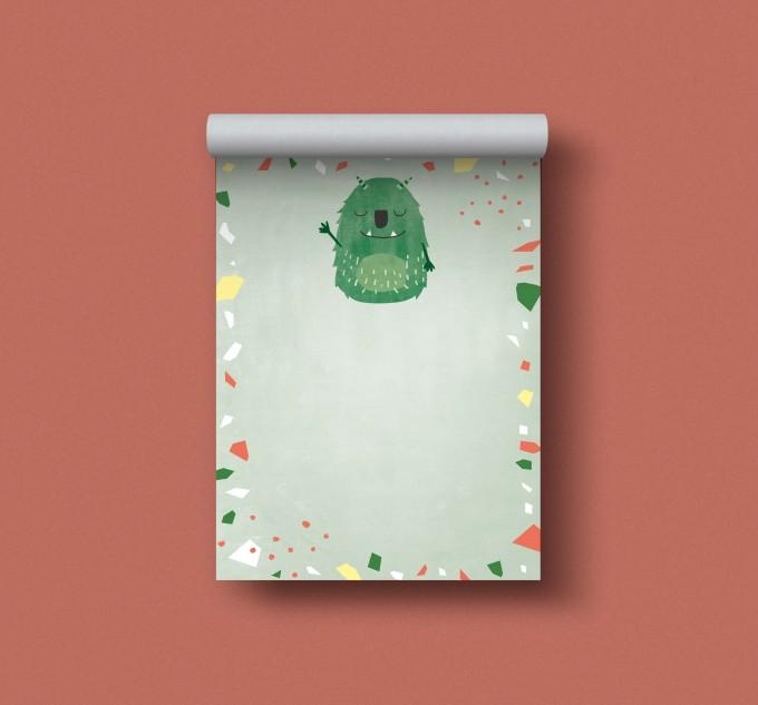 Designfräulein // Notizblock DIN A6 // Monster grün