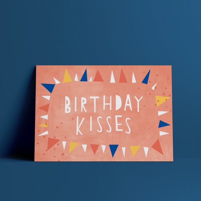 Designfräulein // Postkarte // Birthday Kisses