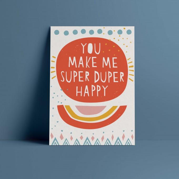 Designfräulein // Postkarte // You make me super duper happy