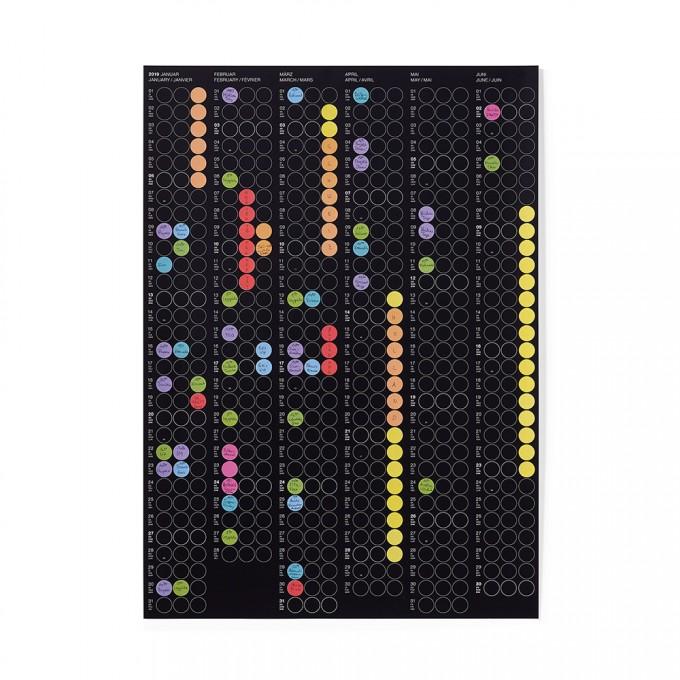 dot on half / Halbjahresplaner 2019 – mit über 700 Klebepunkten in 12 Farben