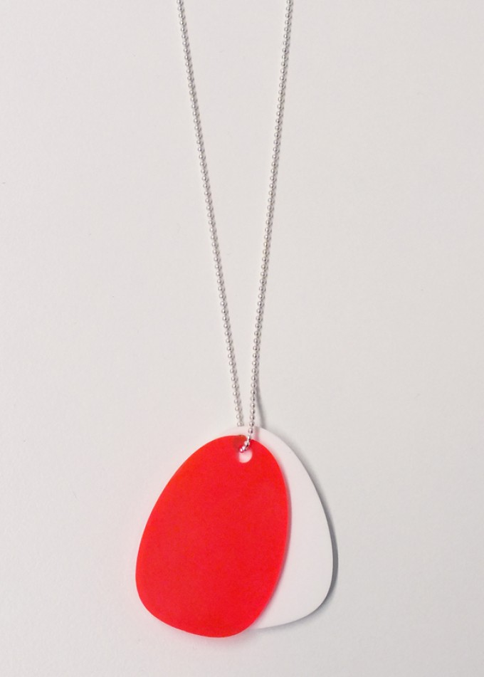 theobalt.design TAG necklace white/neon red