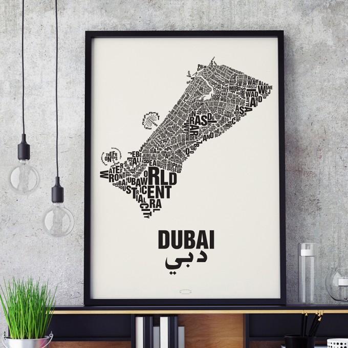 Buchstabenort Dubai Stadtteile-Poster Typografie Siebdruck