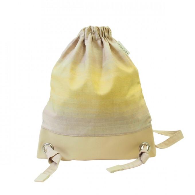 alva Daypack Delüx Recyclingrucksack aus wiederverwendetem Markisentuch/Leder (gelb-braun)
