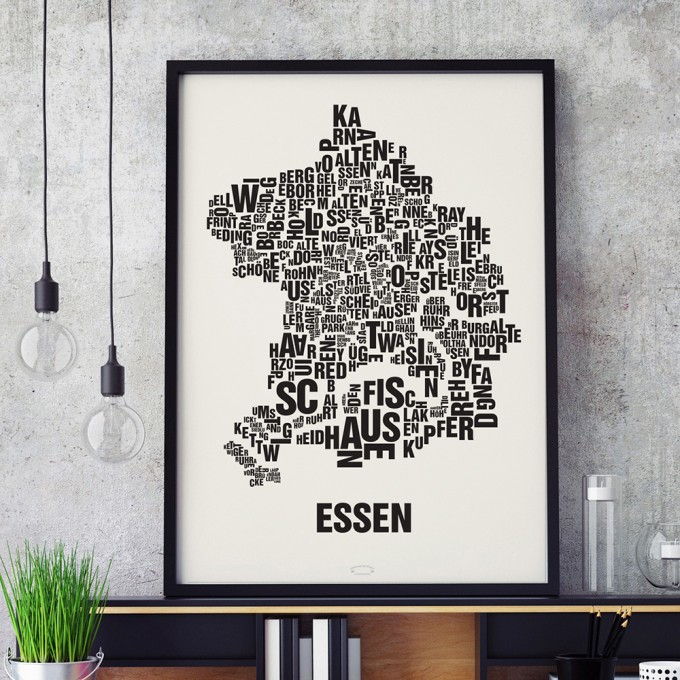 Buchstabenort Essen Stadtteile-Poster Typografie Siebdruck