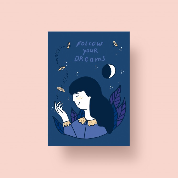 "Notietzblock Postkarte ""Follow your dreams"", A6"