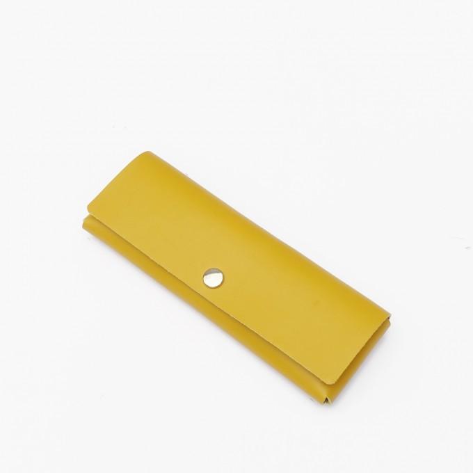 EINFACHDESIGN Stiftemäppchen, Lederetui, Mäppchen, kleine Ledertasche Echtleder gelb, gesteckt
