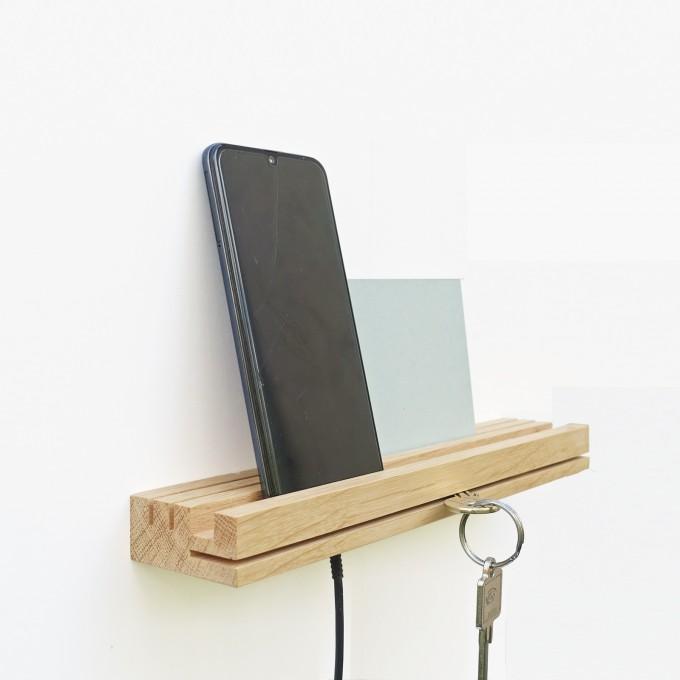 EINFACHDESIGN, Schlüsselbrett, Kartenhalter, Ladestation für 2 Mobiltelefone
