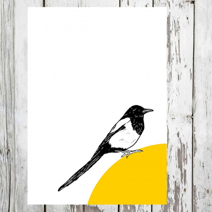 "playfulsolutions Notizheft mit Vogel Illustration ""Elster"""