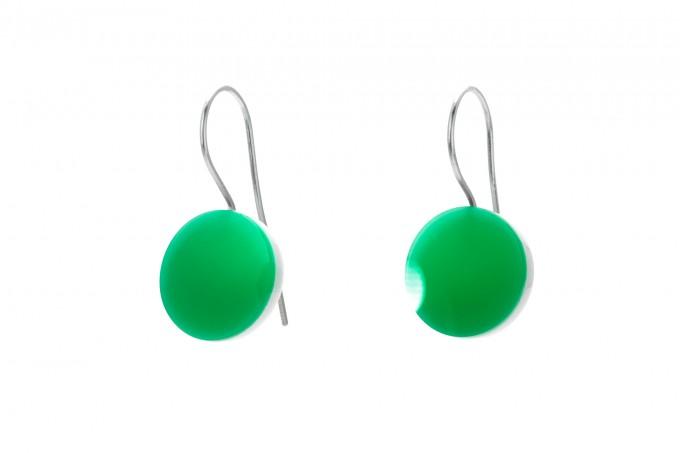 "Eva Slotta Jewellery ""Tint Deep"" Ohrschmuck mit grünem Achat, 925 Silber"
