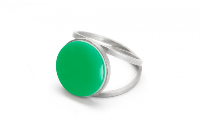 "Eva Slotta Jewellery ""Tint Deep"" Ring mit grünem Achat, 925 Silber"