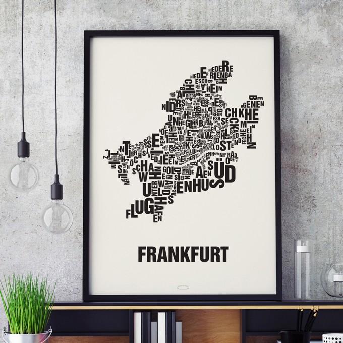 Buchstabenort Frankfurt Stadtteile-Poster Typografie Siebdruck