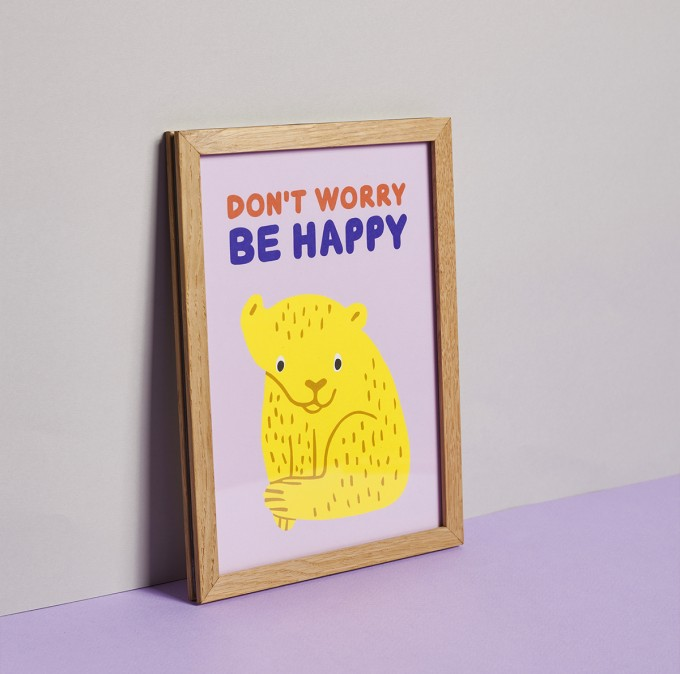 Family Tree Shop / Poster / Tiger auf zartrose (DIN A5)