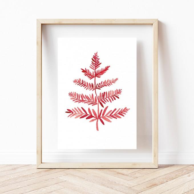 "Paperlandscape | Kunstdruck ""Farnblatt rot"" | Art Print | Poster Farn | Pflanzen"