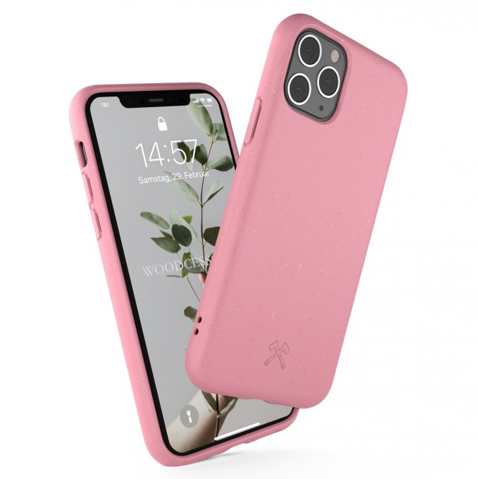 Woodcessories - Selbstreinigende iPhone Bio Hülle aus pflanzlichen Materialien - Kompostierbar &, Antibakteriell - Coral Pink