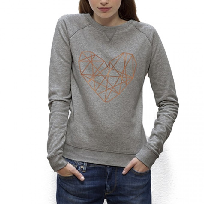 melike Sweatshirt Organic Cotton Kupferherz (grey melange)