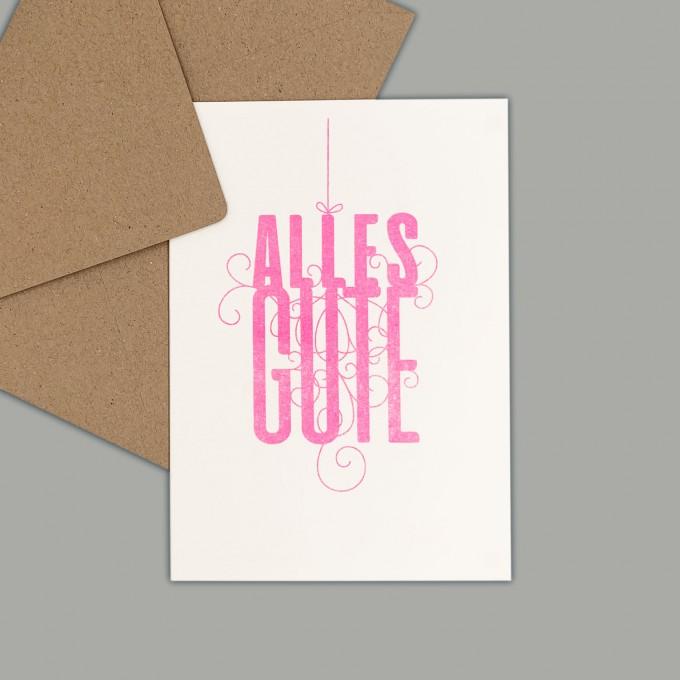 Feingeladen // FANCY TYPE // Alles Gute (FP) // RISO-Klappkarte, A6