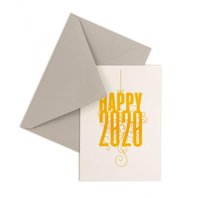 Feingeladen // FANCY TYPE // Happy 2020 (SF) // RISO-Klappkarte, A6