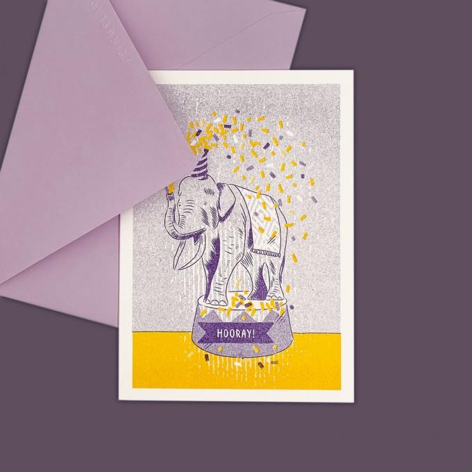 Feingeladen // LOVELY BEASTS // Elephant »Hooray!« (PPSF) // RISO-Klappkarte, A6
