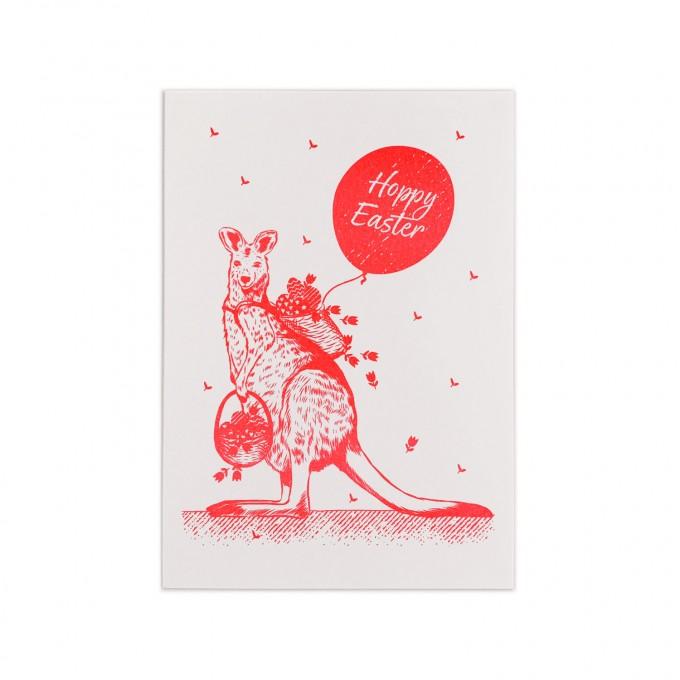 Feingeladen // LOVELY BEASTS // Kangaroo2 »Hoppy Easter« (FR) // RISO-Klappkarte, A6