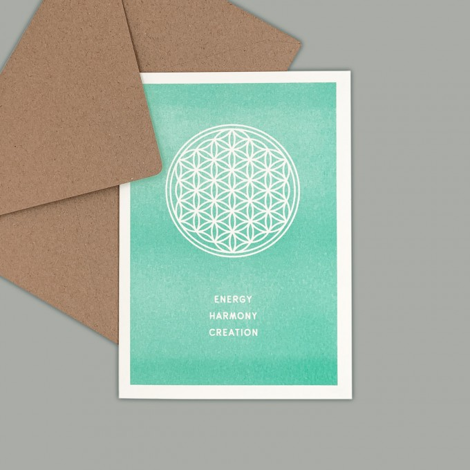 Feingeladen // SIMPLY DIVINE // Flower of Life »Energy Harmony Creation« (MI) // RISO-Klappkarte, A6