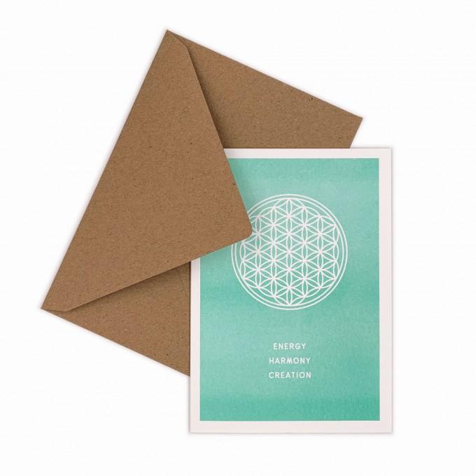 Feingeladen // SIMPLY DIVINE // Flower of Life »Energy Harmony Creation« (MI) // RISO-Klappkarte, A6