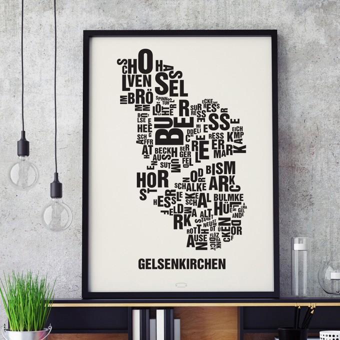 Buchstabenort Gelsenkirchen Stadtteile-Poster Typografie Siebdruck
