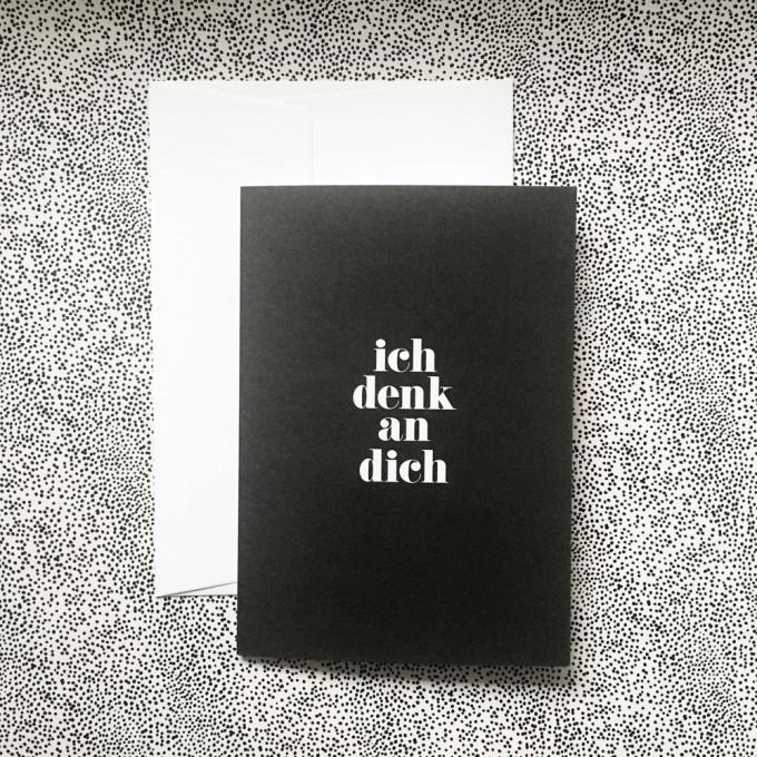 "Love is the new black – Grußkarte ""Denk an dich"""