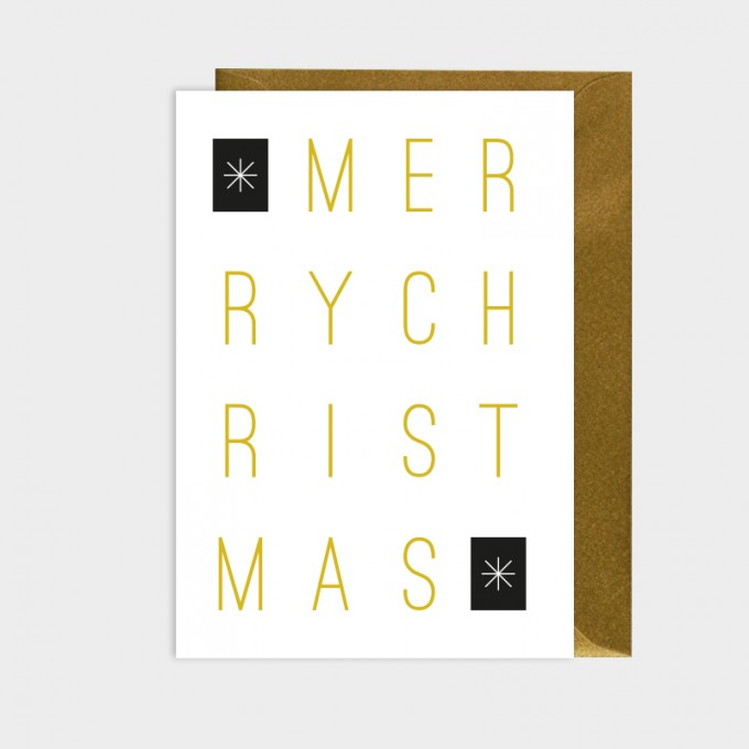 HOOK&EYE Grußkarte 'MERRY CHRISTMAS' 3er-Set