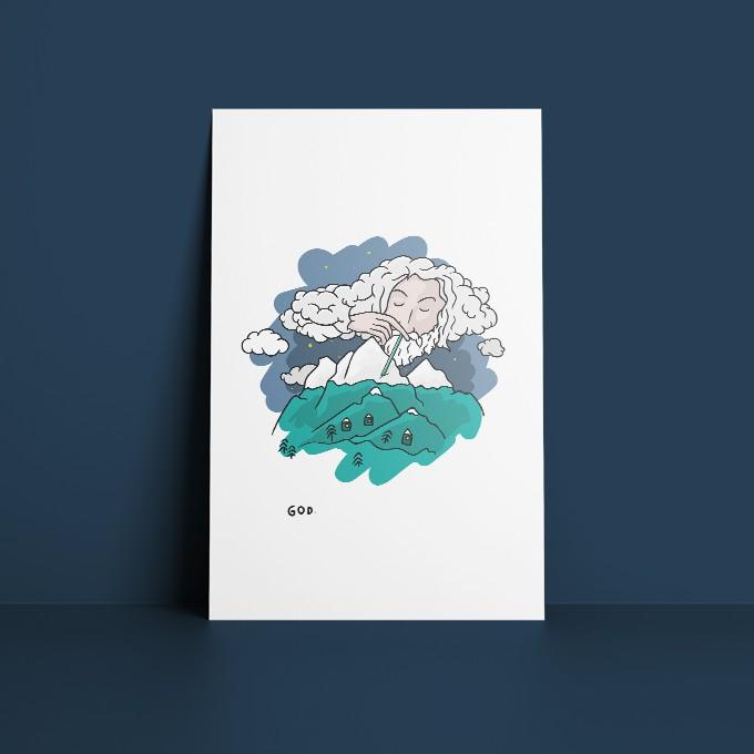 GOD. [Snow] – Illustrierte Design-Postkarte