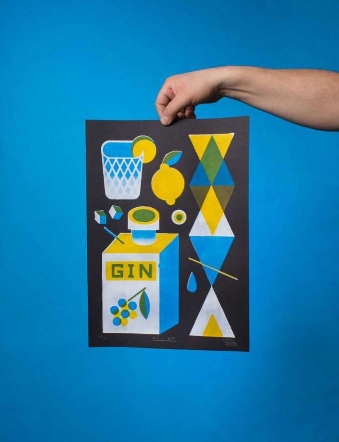 Martin Krusche - Stencildruck »Gin« DINA3