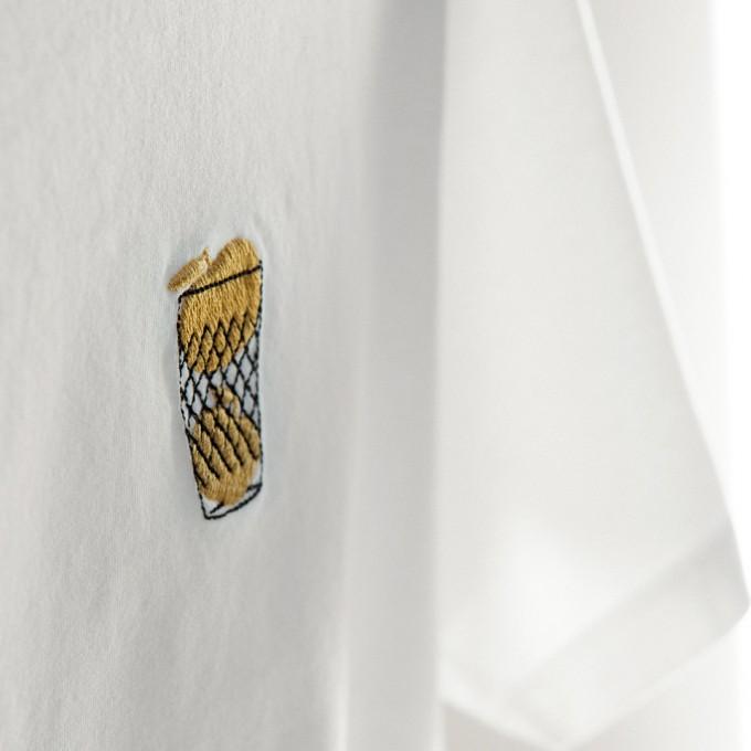 Copyright Frankfurt besticktes Ebbelwoi T-Shirt, goldene Äpfel, Unisex, 100% Bio-Baumwollen