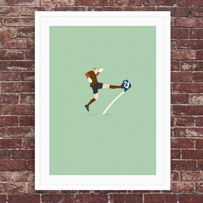 """Derby Kick"" A3 Fußballposter von HANDS OF GOD"