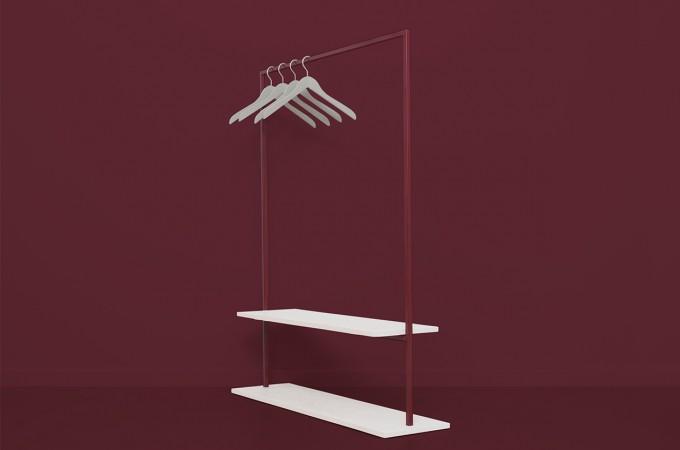 Garderobe HANGON Weinrot mit Ablage | JOHANENLIES