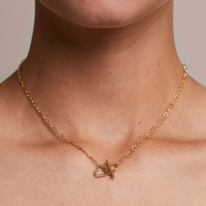 related by objects - just hearts extended necklace - 925 Sterlingsilber 18k goldplattiert