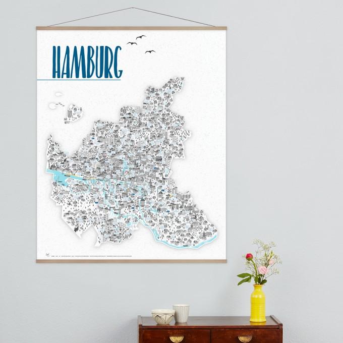 Rapü Design Hamburg Poster, inkl. Posterleiste