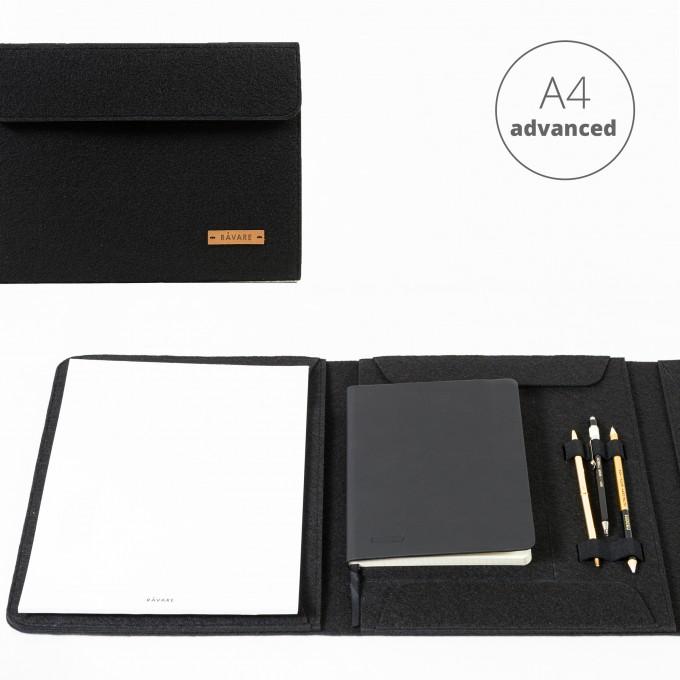 RÅVARE Dokumentenmappe für A4-Dokumente, Kalender, Planer und Tablet ≤12.3″ in schwarz [HENNE]