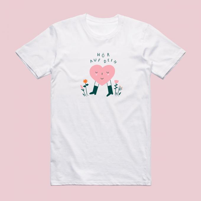 """Notietzblock Tshirt """"Hör auf dein Herz"""" - Print"""