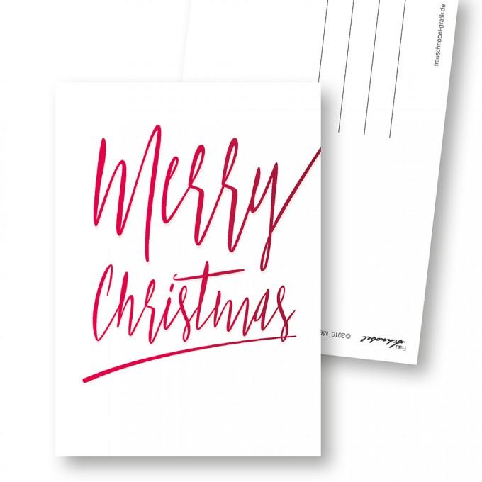 """Frau Schnobel Grafik Weihnachtspostkarten """"Merry Christmas – A"""" // Weihnachtskarte 4er Set"""