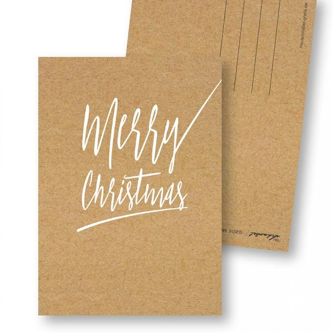 "Frau Schnobel Grafik Weihnachtskarten ""Merry Christmas – B"" 4er Set"