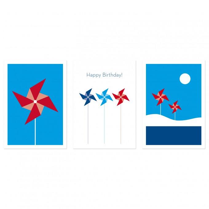 """3 Held&Lykke Postkarten """"PinwheelMail"""" Blau"""