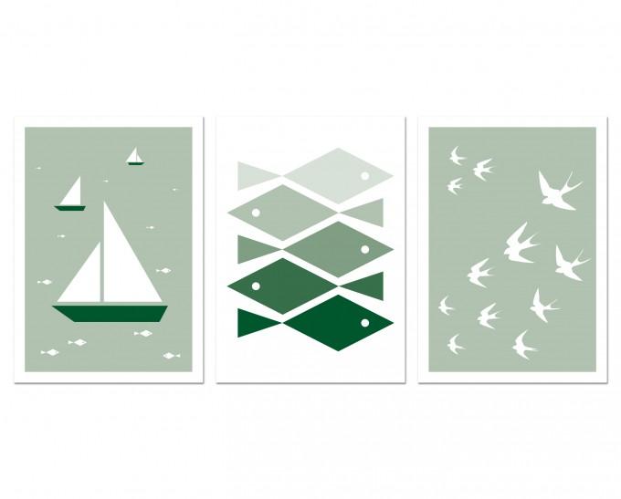 """3 Held&Lykke Postkarten """"BoatFishBird"""""""