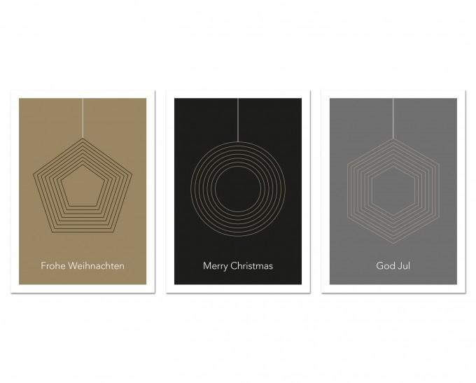 """3 Held&Lykke Weihnachtskarten """"GeoMail II"""""""