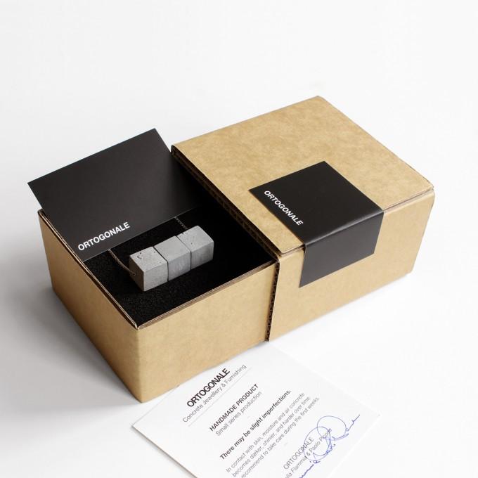 Beton Kette 3CB, Silber Gliederkette, Beton Schmuck, moderner und minimalisticher Zement Schmuck, Architekten Geschenk by ORTOGONALE