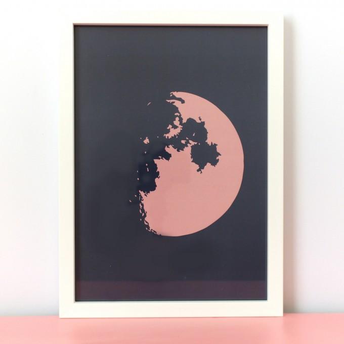 stahlpink Halbmond-Poster