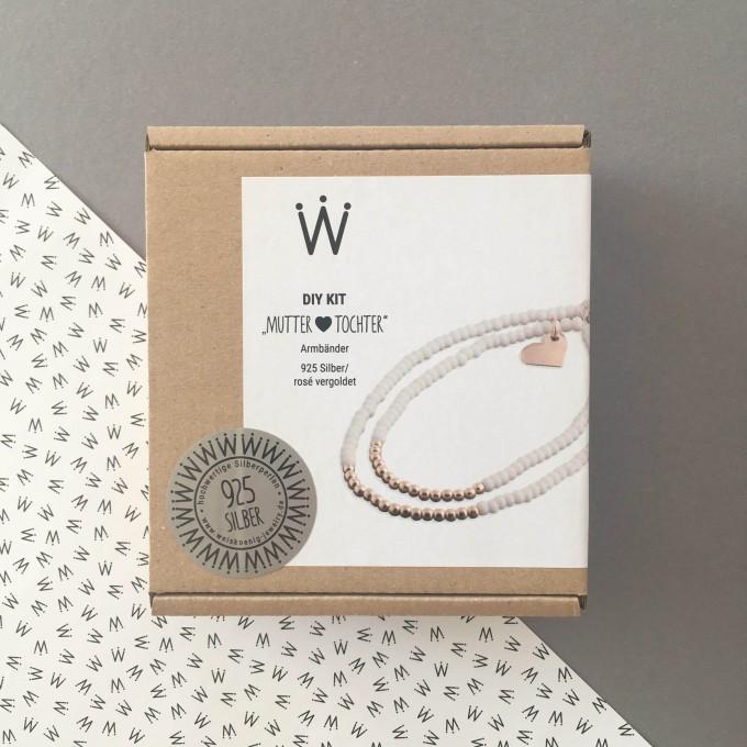 "DIY KIT ""Mutter&Tochter"" Armband in 925er Silber rosé vergoldet – Weiskönig Jewelry"